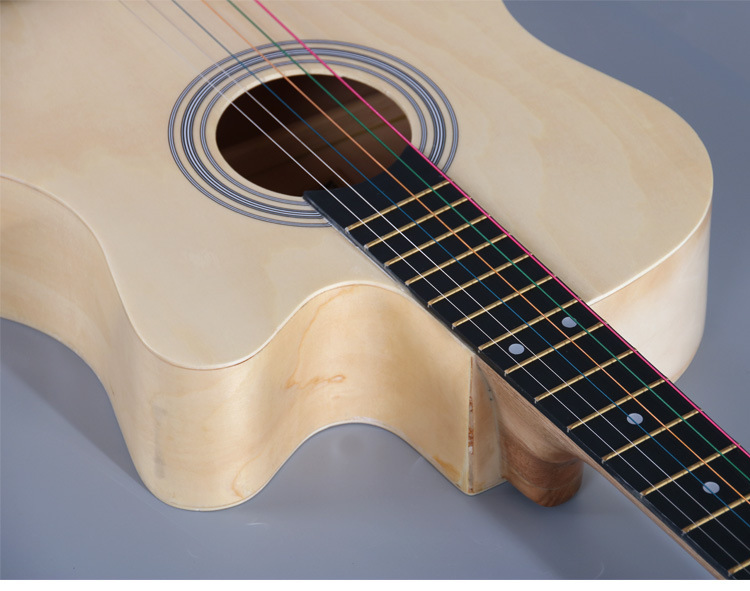 Promotion price Wholesale Chinese Acoustic Guitar  38 Inch Metal Chord Guitar Colorful For Beginner