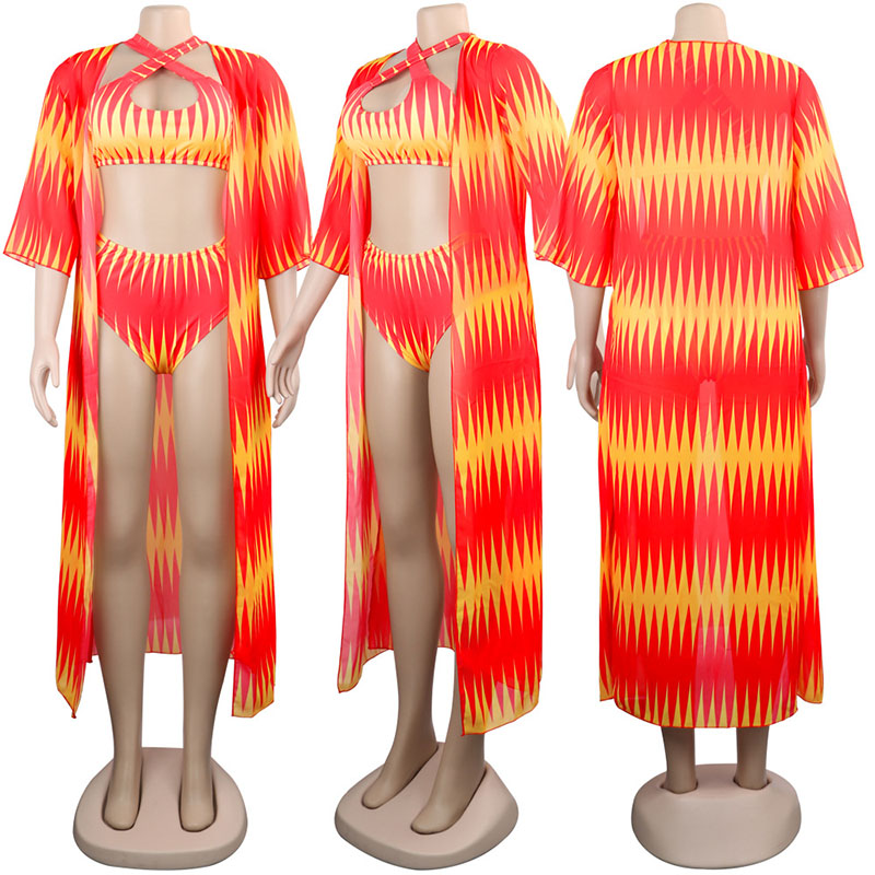 2020 African Print Swimwear Cover Ups Beachwear 3 Piece Swimsuit