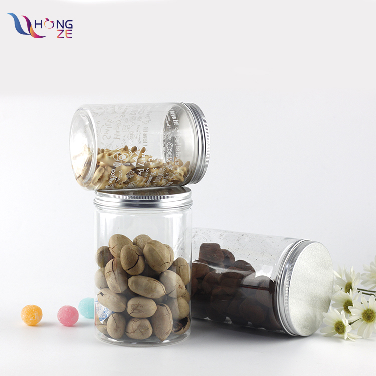 Wholesale 500ml 1000ml air tight empty clear cylinder food grade pet plastic food container jar for salad nuts with aluminum cap