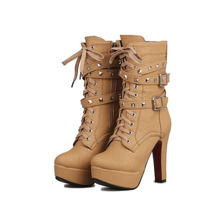 Europe Ladies High Quality Leather Stiletto Shoes Women High Heel Ankle Boots Factory Price