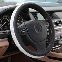 PU Leather Luxury Car Crystal Steering Wheel Cover