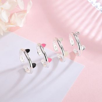 S925 silver Japanese and Korean trendy opening cat ring female silver jewelry ring cute pet cute cat ears paw ring