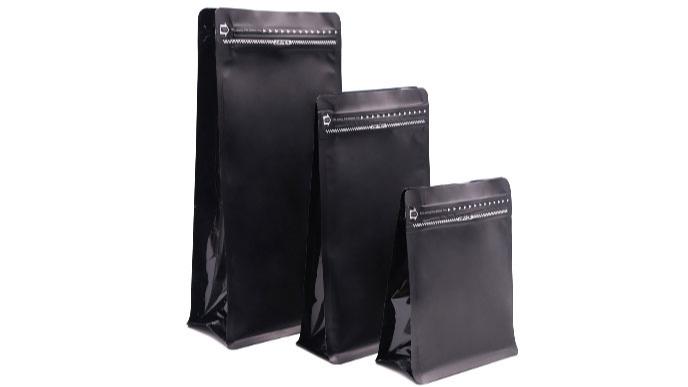 ジッパーアルミホイル平底コーヒー包装袋マットブラックスクエアボトムバッグ一方向バルブ付き