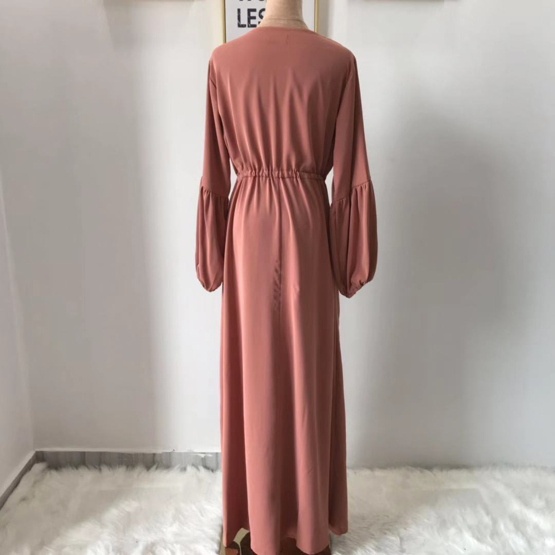 2019 summer muslim women puff sleeve dress plain islamic long maxi dress dubai abaya
