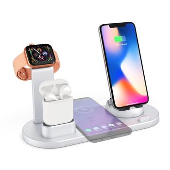 Weluv Universal Multi QI Wireless charger 3 in 1 Dock Stand for watch airpods tablet phone silver Dropshipping Free sample