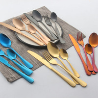 Cheap Custom Gold PVD Spoon Fork Knife Wholesale Stainless Steel Cutlery Set