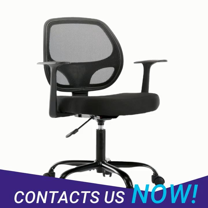 Furnitur Kursi Kantor Ergonomis, Kursi Meja Kursi Tengah Belakang, Kursi Putar Jala Penuh dengan Sandaran Tangan dan Tinggi Dapat Diatur