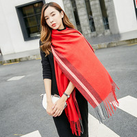 Hot Sale Winter Latest Style Warm Women Double Side Cashmere Scarf Shawl with Tassel Pashmina Thick Scarf