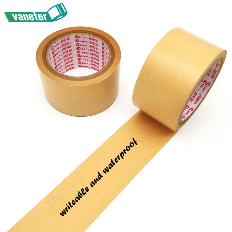 Eco friendly custom printed kraft paper sealing tape, writable waterproof packaging gummed self adhesive tape