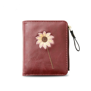 Fashion Women Short Embroidery Japanese Style Photo Holder Wallet