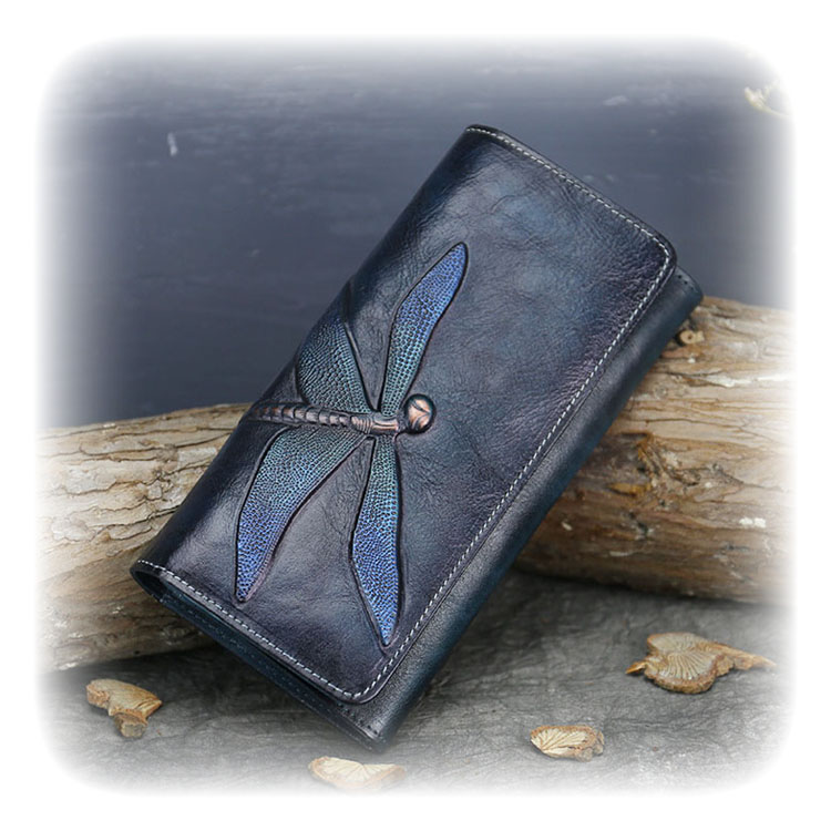 New <strong>Genuine</strong> <strong>Leather</strong> Top Layer Cowhide Wallet Female Butterfly <strong>Leather</strong> Long Wallet Retro Clutch Bag <strong>Leather</strong> Ladies Wallet
