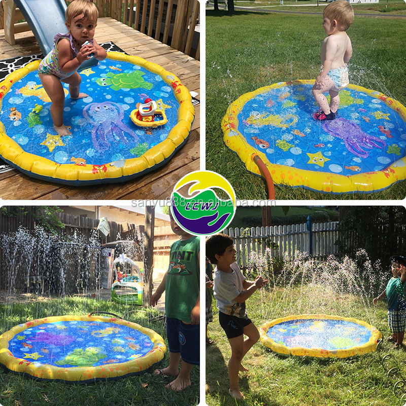 170 CM Summer Children's Play Water Mat Games Beach Pad Lawn Inflatable Spray Water Cushion Toys