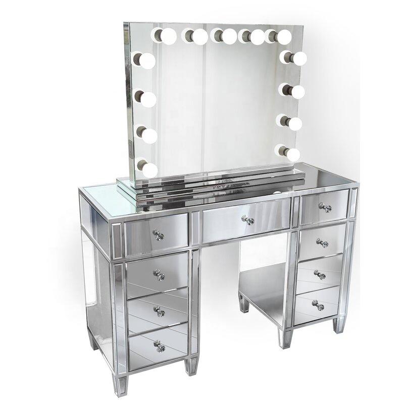 יהירות מודרני גדול שיקוף שולחן איפור סט LED שולחן איפור עם מראה ושרפרף