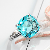 Foreign trade explosion models square zircon jewelry creative natural gemstone ring rings women silver