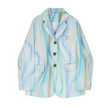 [EAM] Женский блейзер большого размера с принтом, новая свободная куртка с отворотом и длинным рукавом, модная демисезонная куртка 2020 1Y681(Китай)