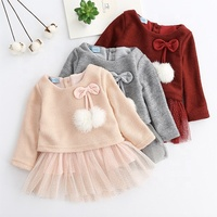 2019 New Wholesale Autumn Winter Bowknot long Sleeves Lace Knitted Wool Ball Children Girl princess dress