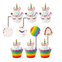 Unicorn Cupcake Wrappers Toppers  Little Dino Cupcake Topper Cake Party Supplies for Boys Kids Birthday decorations cake toppers