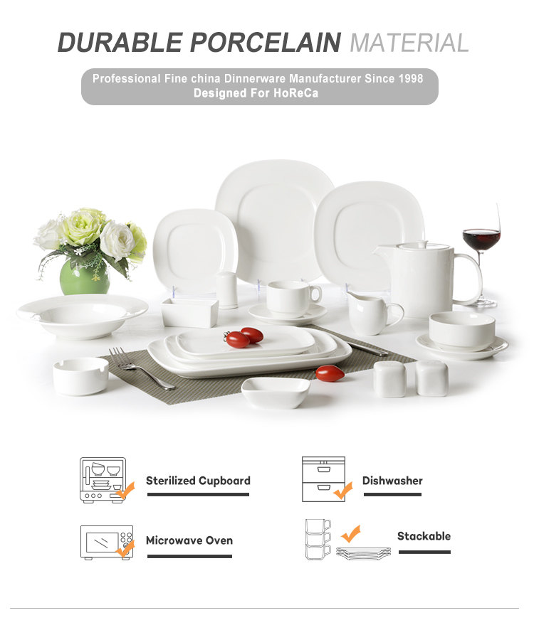 product-28ceramics FDALFGBSGS Certificate USA European Style Hotel Square Porcelain Dinner Sets, Squ
