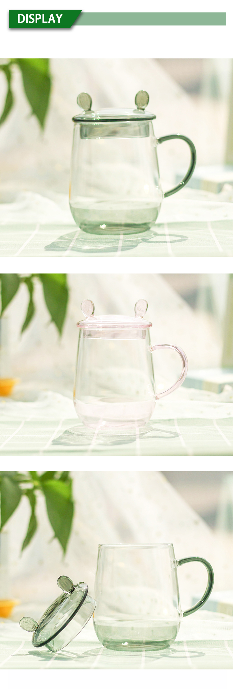 Sell Well tea heat resistant reusable tinted Pink transparent single wall glass cup