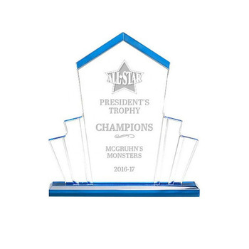 Custom Plexiglass Trophy Awards Clear Blue Acrylic Trophy Award