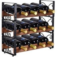 Metal Wood Countertop Free Standing Stackable Wine Rack