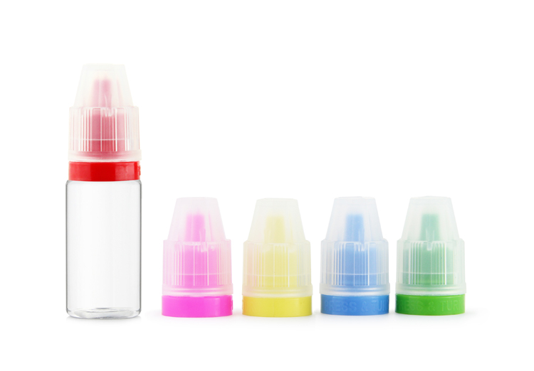 10ml childproof tamper seal eliquid bottle with plastic colorful cap for custom design