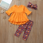Baby And Kids Icing Clothes Solid Color Leggings Halloween Tops Ruffle Boutique Girl Clothing Sets