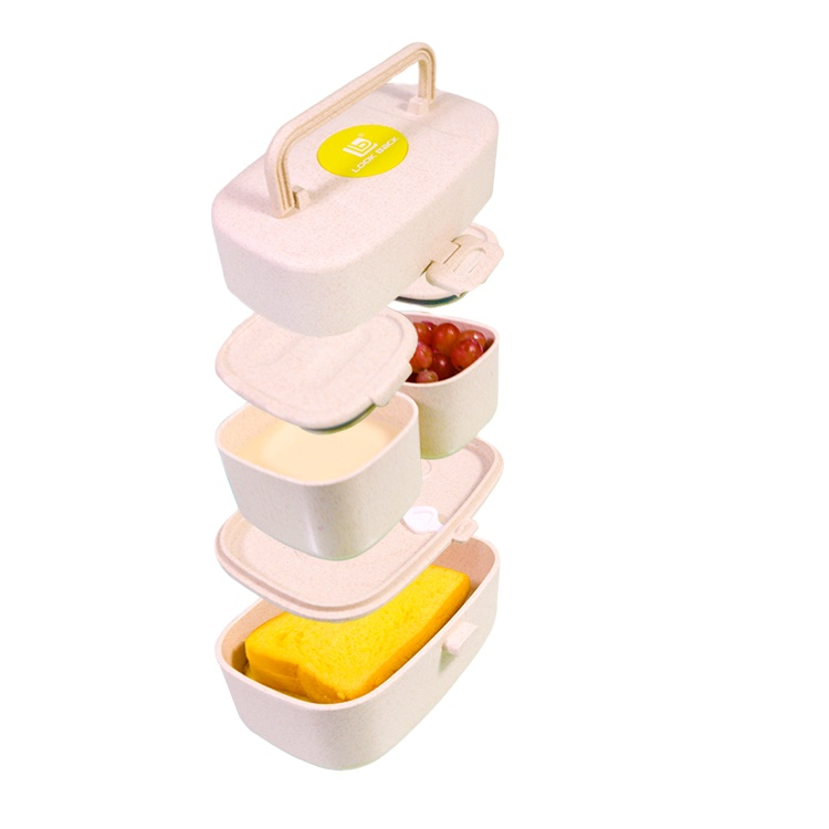 2021 Nieuwe Product Gedrukt Lunch Tiffin Doos Weizenstroh Bento Box Container Tarwe Stro Snack Verdeeld Lunch Box