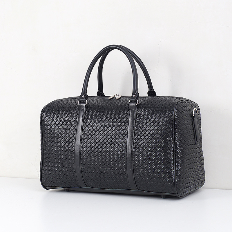 Multifunctional woven pu leather men and women large duffle bag weekend travel hand bag