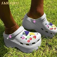 Karinluna/2020 г., Лидер продаж, шикарные тапочки из расшитой блестками ткани женская обувь Летняя обувь с открытым носком на платформе женские шле...(Китай)