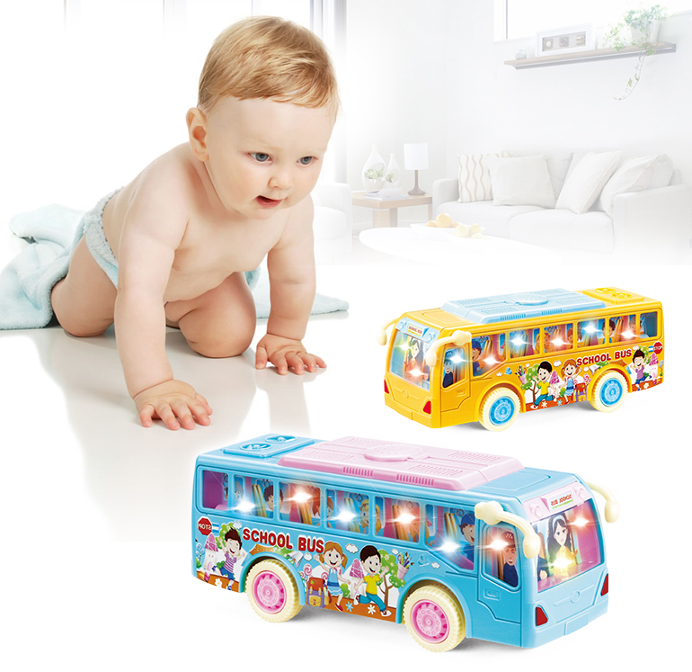 Lighting battery operated colorful education mini school model electric toy bus