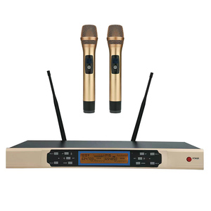 wholesaler professional dual channel karaoke dynamic UHF wireless microphone for Party Church Wedding