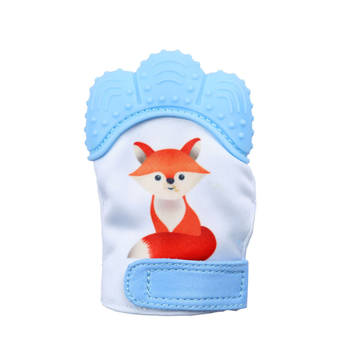 Wholesale fox pattern print Baby Glove Teething Mitten  BPA FREE Safe Food Grade Silicon baby  teeth rattle toy gloves