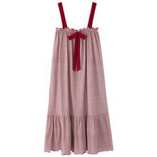 BZEL/летнее популярное Ночное платье на бретельках; Ночная юбка с милым бантом; Клетчатая Ночная рубашка в полоску; Хлопковая одежда для сна; С...(Китай)