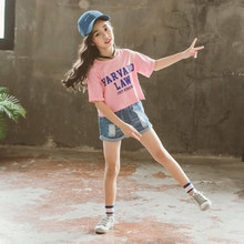 Комплект летней одежды для девочек, футболка с коротким рукавом + джинсовые шорты, комплект детской одежды 4, 5, 6, 7, 8, 9, 10, 11, 12 лет, 2020(Китай)