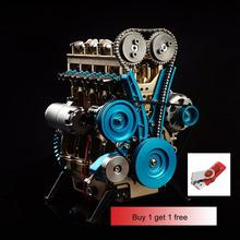 All Metal Car Mini Assemble Inline Four-cylinder Engine Model Kit Educational Toys for Adult
