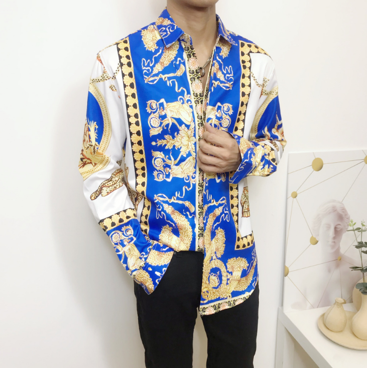 Fashion Long Sleeve Shirts Casual Slim Fit Button Male Luxury Floral Dress Shirt