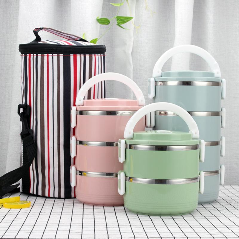Empilhável Aço Inoxidável Caixa de Almoço Bento Caixa Recipiente de Alimento Térmica