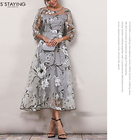 SSTAYING Women's Spring Autumn Organza Floral Printing Wedding Party Ball Gown Cocktail 3/4 Sleeve See-Through Midi Skater Dress