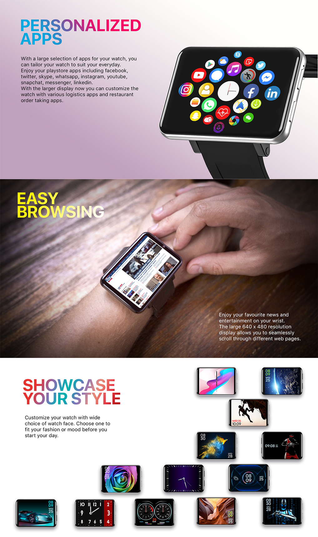 Big screen size 4G android smart watch support android 7.1.1 large battery 2880mAh 2.86inch 5.0MP smartwatch 2020