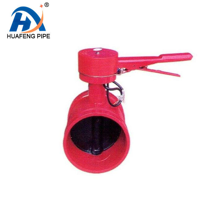 Xinhuafeng Valve' 5 Inch Beralur Menangani Ulet Iron Disc Cast Iron Body Wafer Butterfly Valve