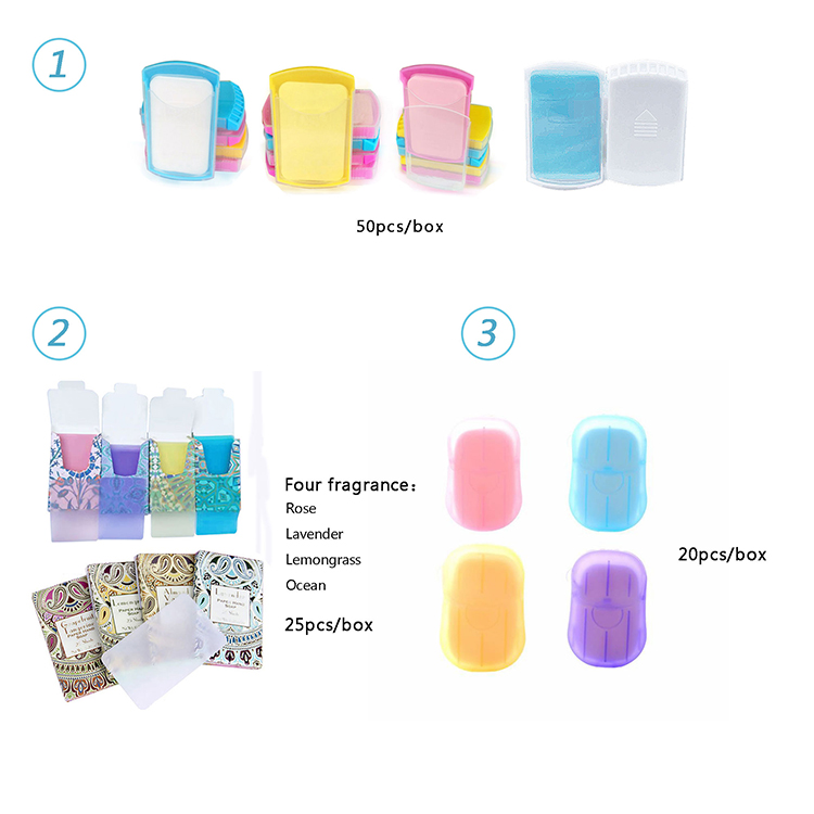 2020 Water Soluble Scented Hand Washing Disposable Travel Paper Sheets Soap Strips