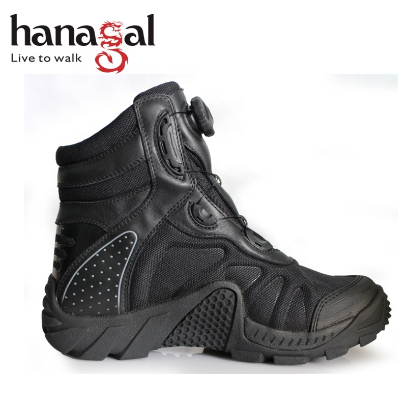 Lightweight Waterproof  Nubuck Leather with  Black  fabric Non Slip Rubber Outsole BOA Fast Lacing