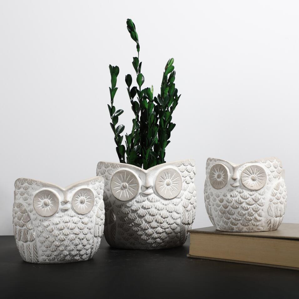 Hand curved table decorative owl shape matte cement animals pots garden decoration cactus plant pot for home decor