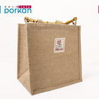 Handled Jute Bag Reusable High Quality Reusable Laminated Jute Shopping Bag with Bamboo Handle
