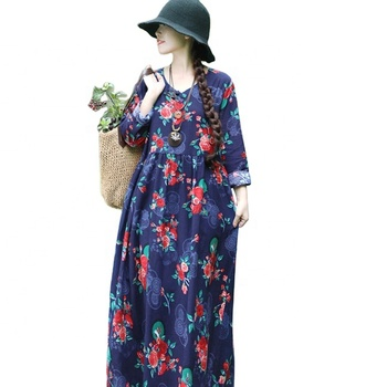We have actually photographed 2019 new plum-size cotton and linen dresses for women with long sleeves and flapper buttons