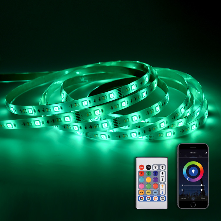 PCB Wifi Smart LED Flexible Strip Light SMD RGBW, IP65 RGB CCT Adjustable LED Strip Lights Waterproof With Keys Controller