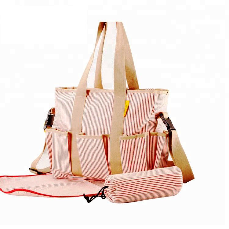En çok satan şerit baskı tuval değişen bebek çantaları