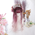 Dalaohome Wholesale Wig Colored Synthetic Hair Long Curly Ombre Wigs Straight Water Wave Harajuku Lolita Wigs Cosplay Hot Hairs
