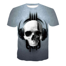Мужская футболка с черепом, футболка в стиле панк-рок, футболка с 3d принтом, летняя мужская одежда в стиле ретро, 2019(Китай)